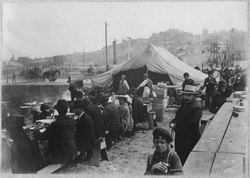 San Francisco Earthquake of 1906: Hot meal kitchen. Photograph by George Williford Boyce Haley