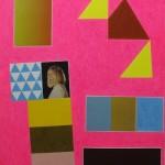 "David X. Levine, YES KIM GORDON, colored pencil, collage on paper, 26"" x 20"", 2013."