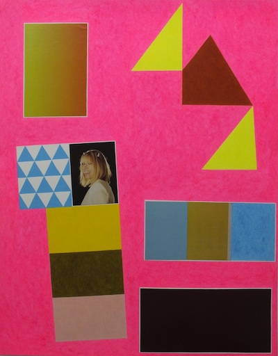 "David X. Levine, YES KIM GORDON, colored pencil, collage on paper, 26"" x 20"", 2013."