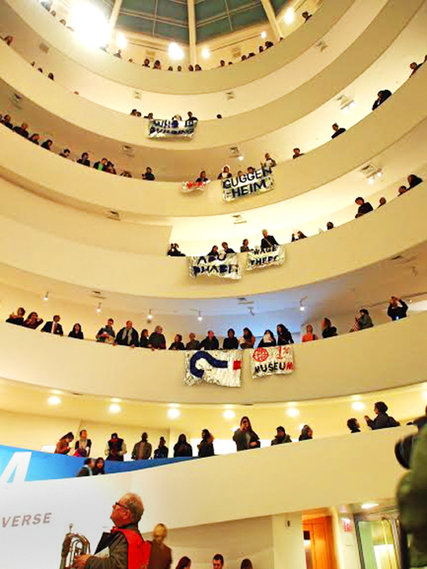 Protesters at the Guggenheim. Photo Credit G.U.L.F. (Gulf Ultra Luxury Faction)