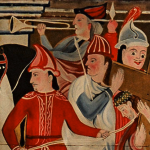 Unknown indigenous artist, Station of the Cross V: Simon of Cyrene helps Jesus (detail), Mission San Gabriel Arcángel, San Gabriel, CA, early 19th Century.