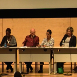 Who We Be: Superpanel on Art, Protest, and Racial Justice April 4, 2015. From left to right, Jeff Chang, Alicia Garza, Ben Davis, Elizabeth Travelslight, Christian L. Frock, Steven W. Thrasher