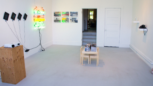 The Dissidents, the Displaced and the Outliers on exhibition at Random Parts, Oakland, May 2- June 5, 2015. Work by (left to right) Eliza Barrios, Tom Loughlin, COLL.EO, and Leslie Dreyer.