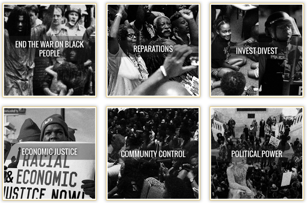 Screenshot from Movement for Black Lives website illustrating their six point platform.